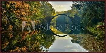 Amazing place in Germany - Rakotzbrucke also known as Devils Bridge in Kromlau Framed Poster