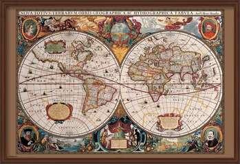 Framed Poster World Map - 17th Century