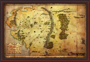 Framed Poster The Hobbit - Middle Earth Map