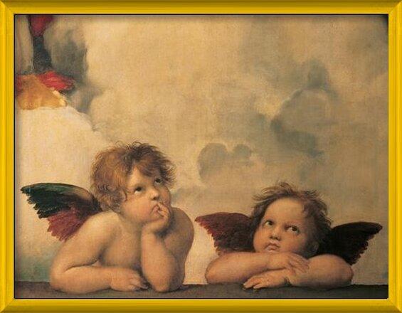 Raphael Sanzio - Sistine Madonna, detail - Cherubs, Angels 1512 Art Print