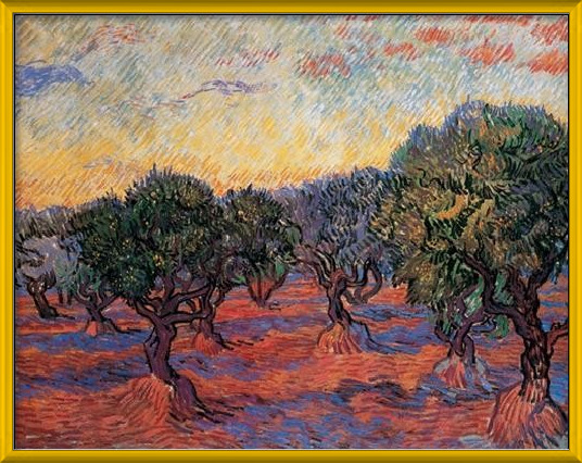 Olive Grove: Orange Sky, 1889 Art Print