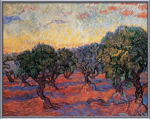 Olive Grove: Orange Sky, 1889 Art Print