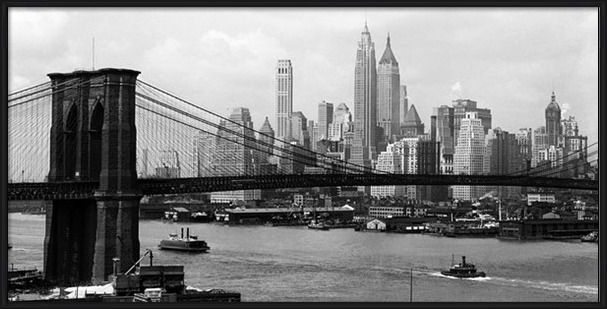 New York - Manhattan skyline and Brooklyn bridge Art Print