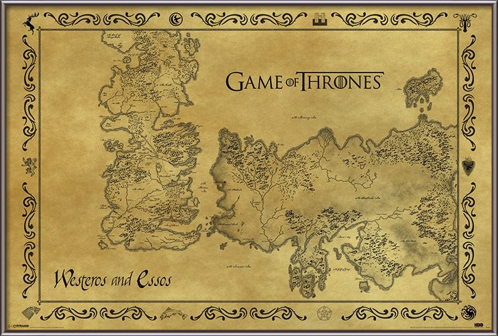 Game of Thrones - Map Antique Style Poster