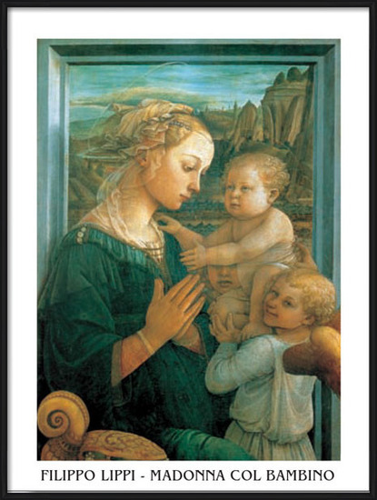 Madonna with Child and two Angels Art Print