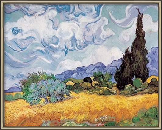 A Wheatfield with Cypresses, 1889 Art Print