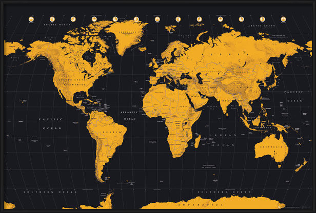 World Map - Gold World Map Poster