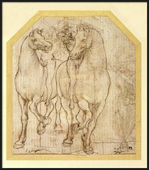 Fine Art Print Study of Horses and Riders, c.1480