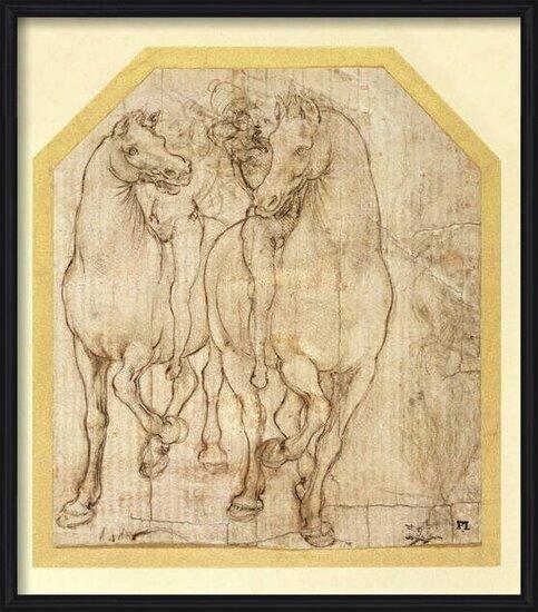 Fine Art Print  Study of Horses and Riders, c.1480