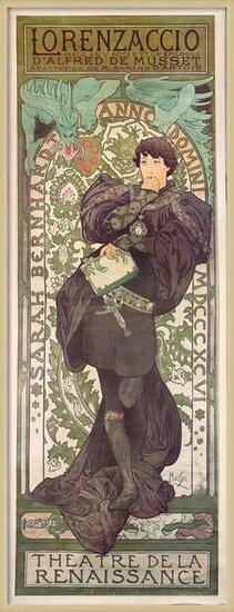 """Fine Art Print """"Lorenzaccio"""", with Sarah Bernhardt, at the Renaissance at the Théâtre de la Renaissance (poster), 1896"""