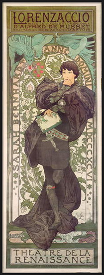 "Fine Art Print ""Lorenzaccio"", with Sarah Bernhardt, at the Renaissance at the Théâtre de la Renaissance (poster), 1896"