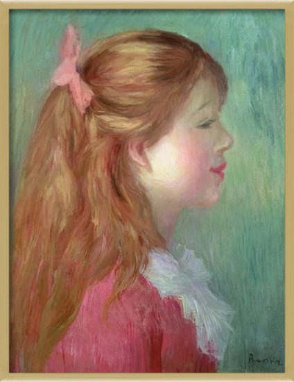 Fine Art Print  Young girl with Long hair in profile, 1890
