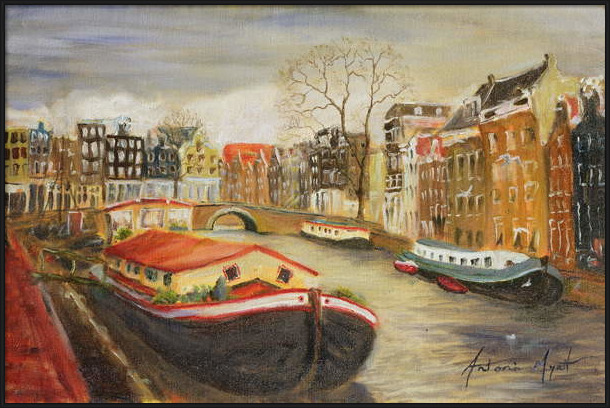 Fine Art Print Red House Boat, Amsterdam, 1999