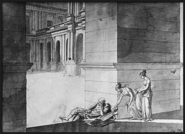 Fine Art Print Two young girls bringing bread to Homer asleep, c.1794