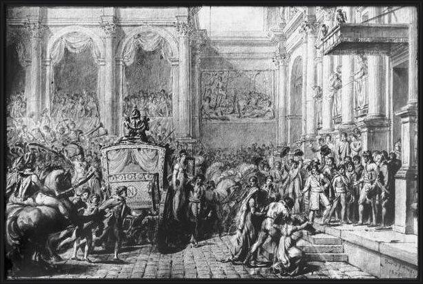 Fine Art Print Back from the Consecration, Napoleon arriving at the Hotel de Ville, Paris, 1805