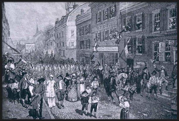 Fine Art Print  Carnival at Philadelphia, illustration from 'The Battle of Monmouth Court House' by Benson J. Lossing, pub. in Harper's Magazine, June 1878