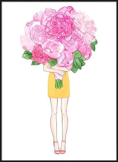 Art Print on Demand Girl and Peonies