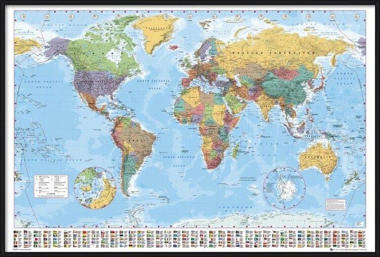 World Map - Political Poster