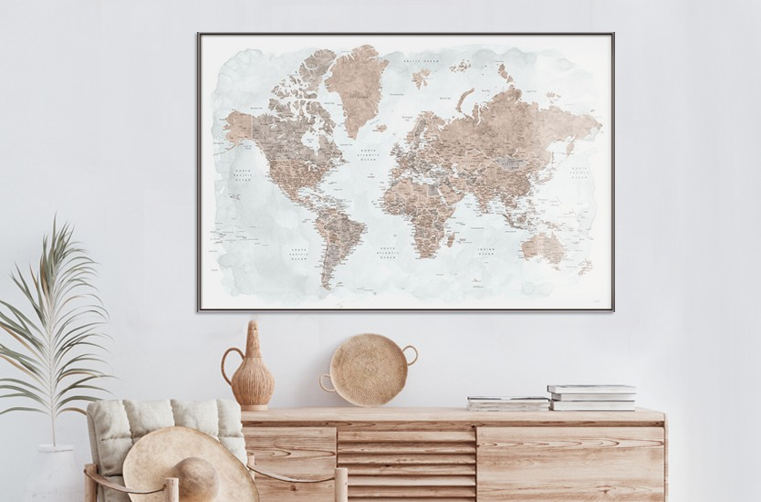 Map Detailed map of Europe in rustic style