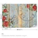 Roses Clock Wood Planks Vintage